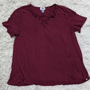 Old Navy Criss Cross Lace Up Flowy Tee